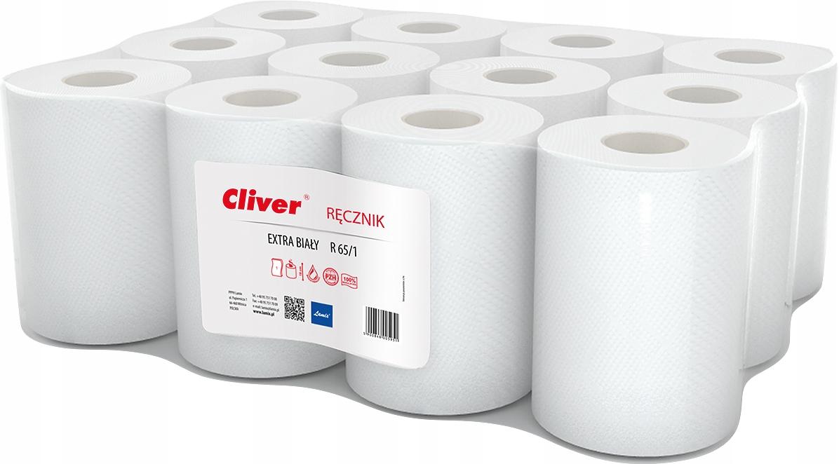 LAMIX бумажные Полотенца Cliver ролики 12шт белые