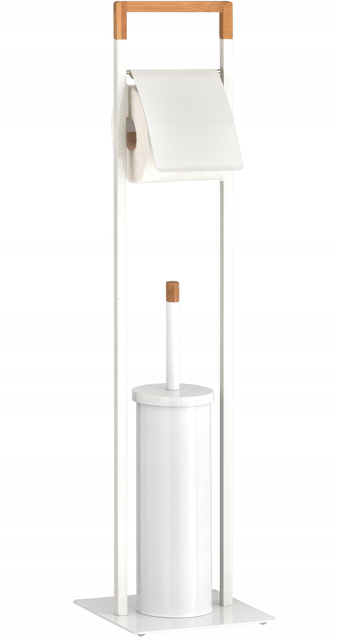 Stojan na toaletný papier + WC štetec BIELY 2v1
