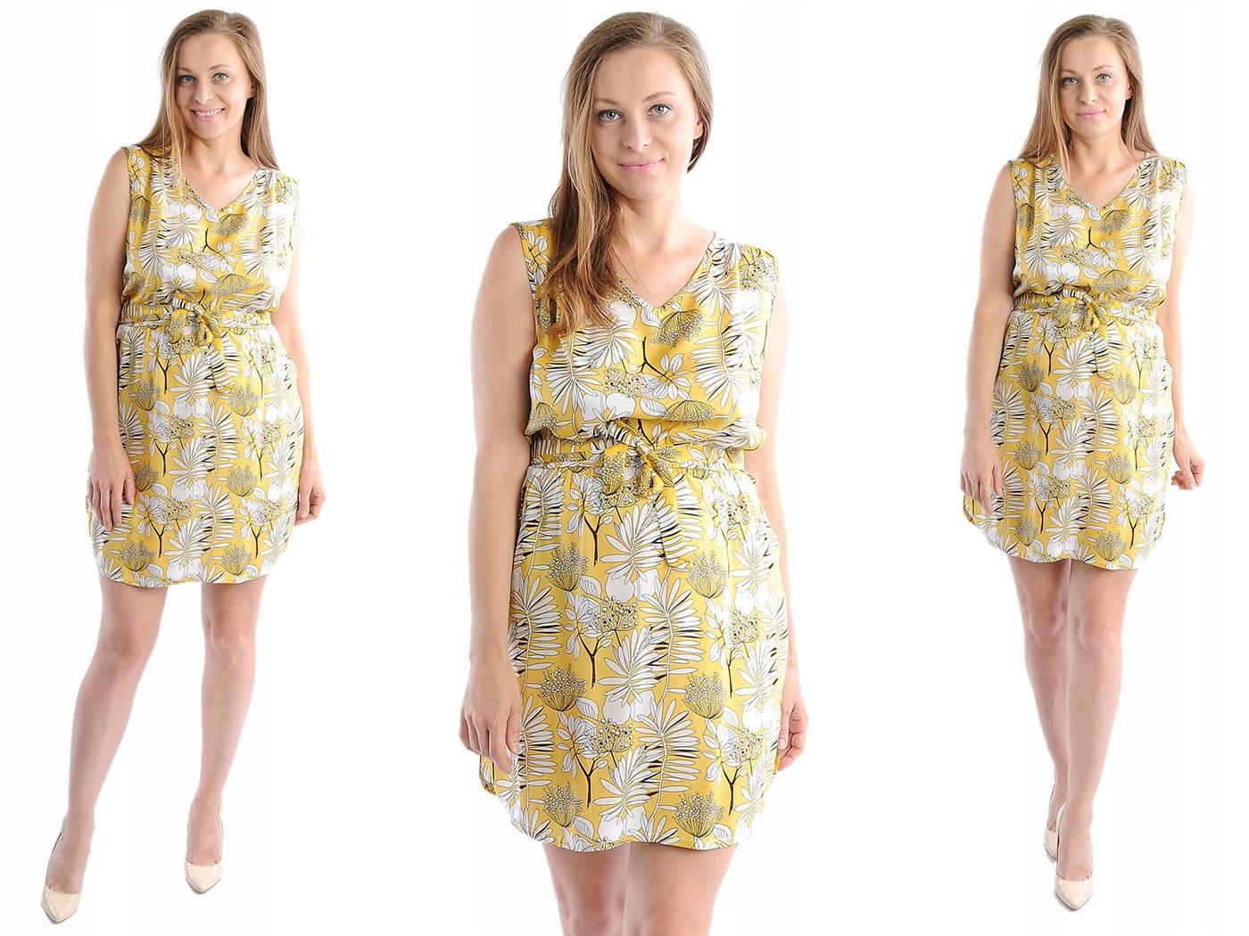 Zwiewna Sukienka Kwiaty Laemi 582 Żółta XL 42