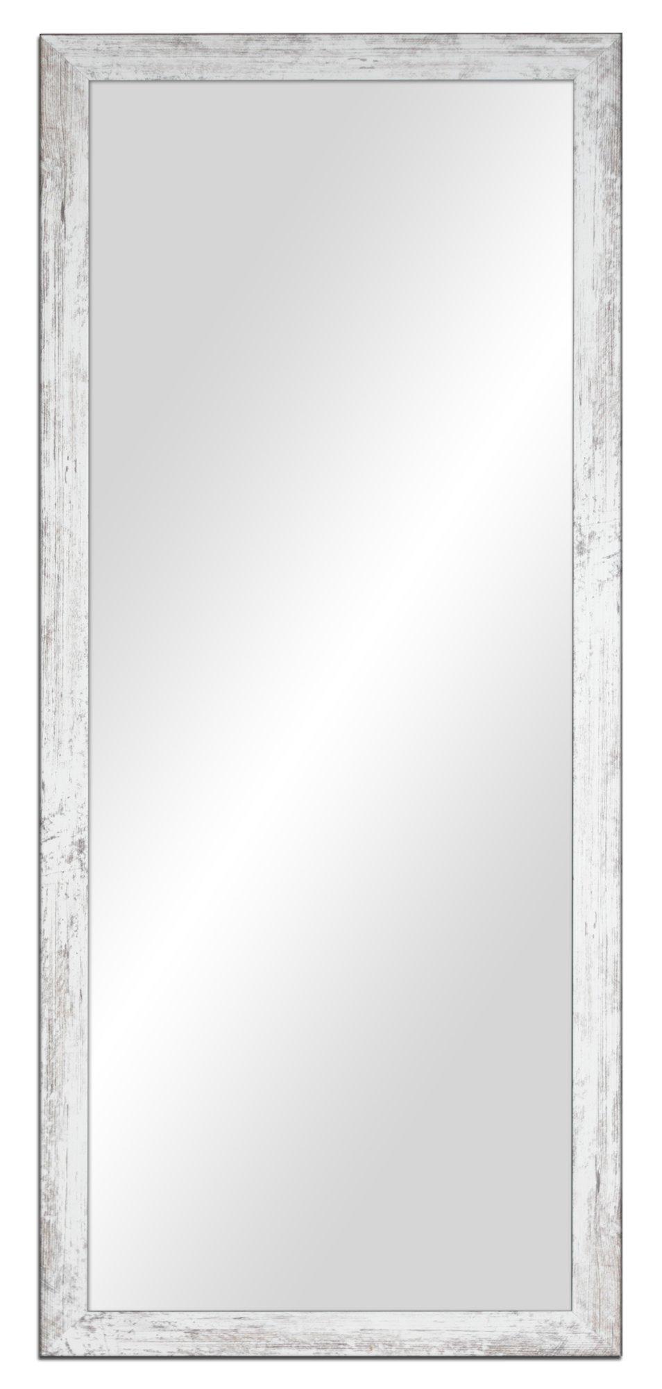 Zrkadlo ošumelé 117x77 cm, biela,šedá,hnedá,čierna