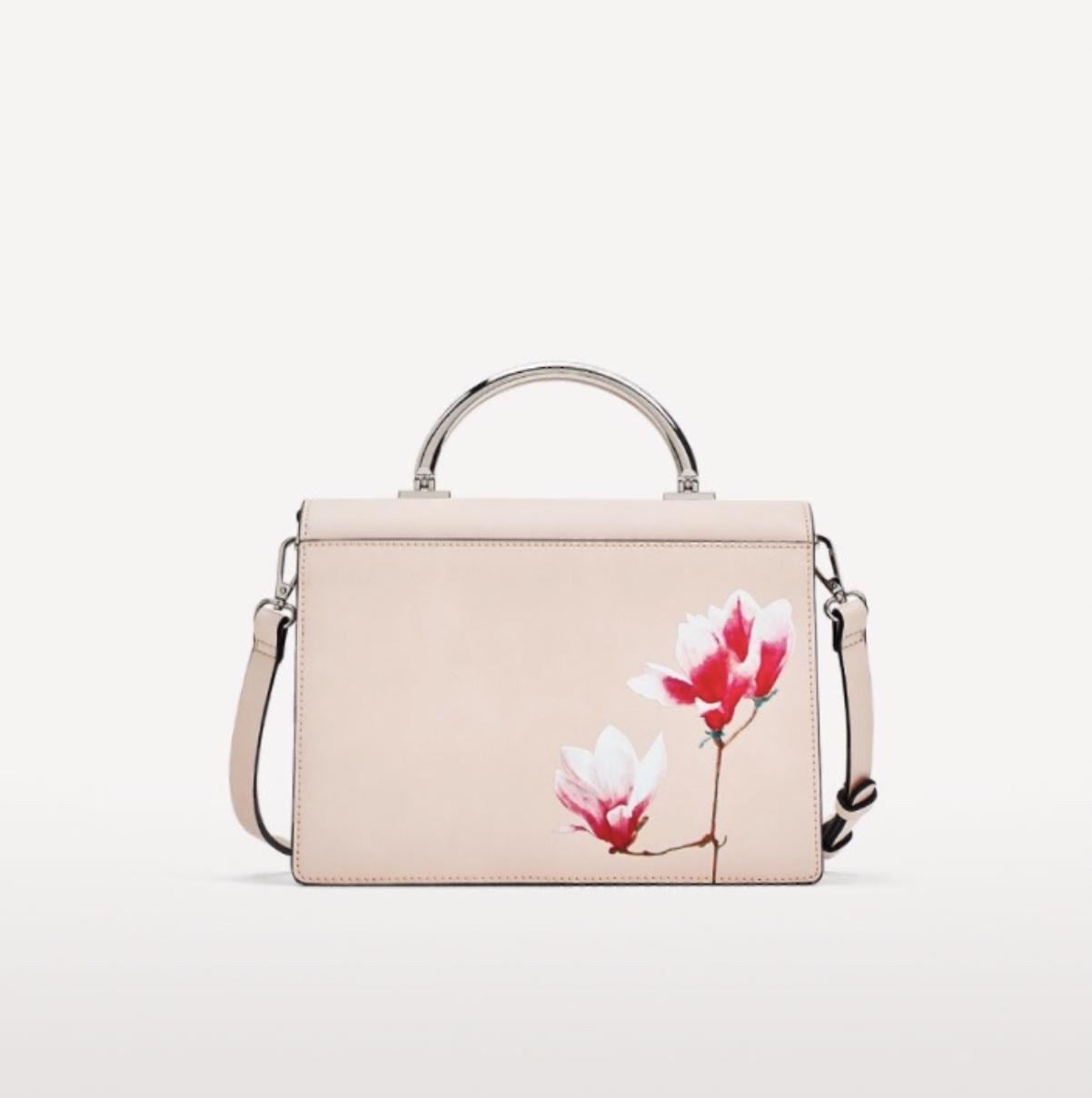 ZARA kabelka vintage kvetina tlače NAHÉ rameno
