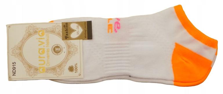 Skarpetki-stopki Aura-neon biały+oranż r.35-38