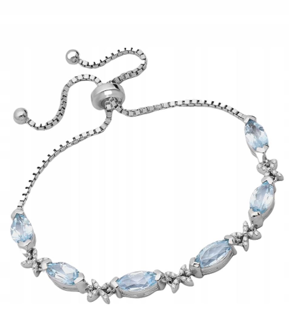Náramok Sky Blue Topaz , 925 sterling silver ródium á