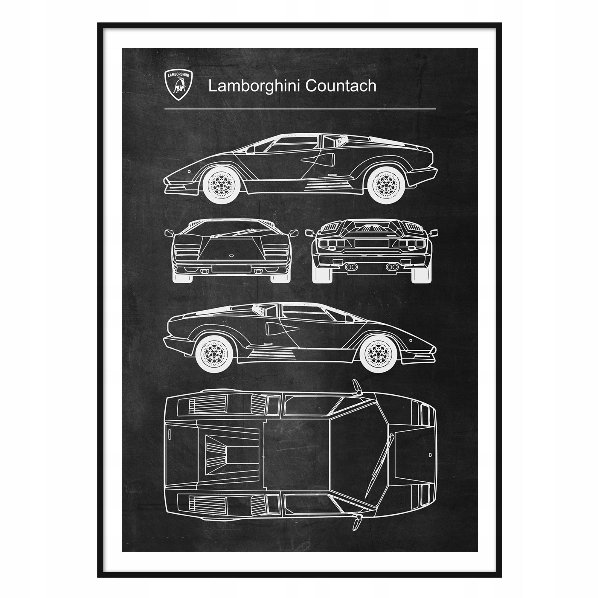Plagát Lamborghini Countach Retro-Patent Schémy