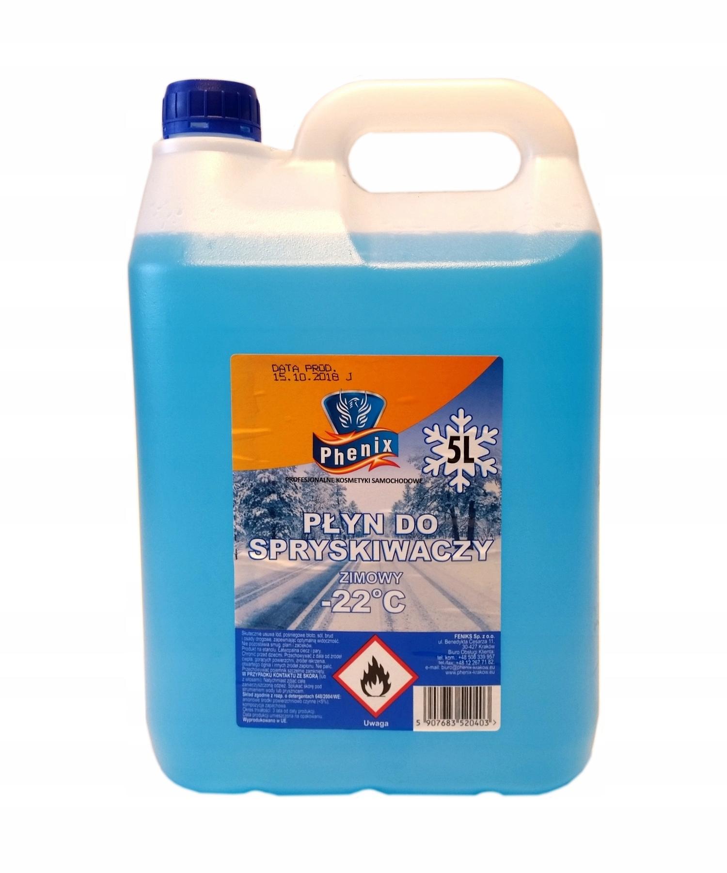 Жидкость для омывателя зимняя -22 ° C, 5L Phenix