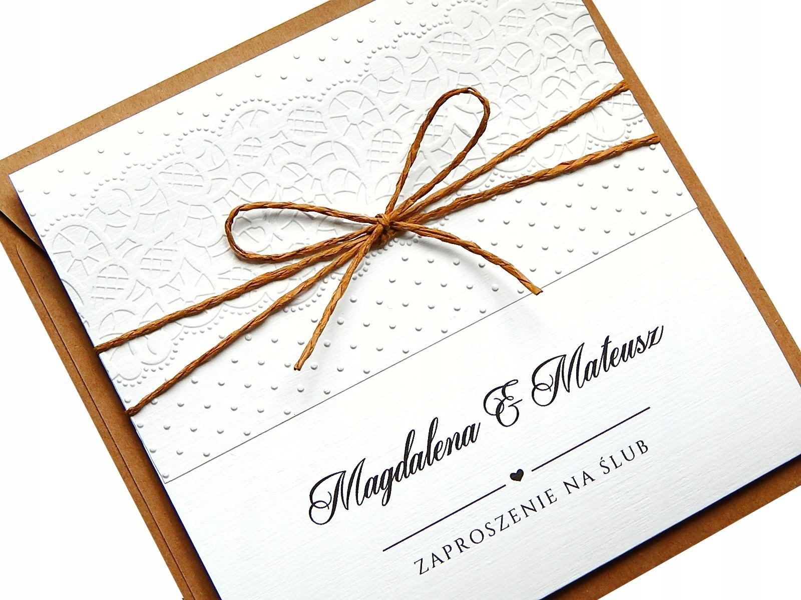 Ślubne EKO Zaproszenia na Ślub BOHO koronka ECO