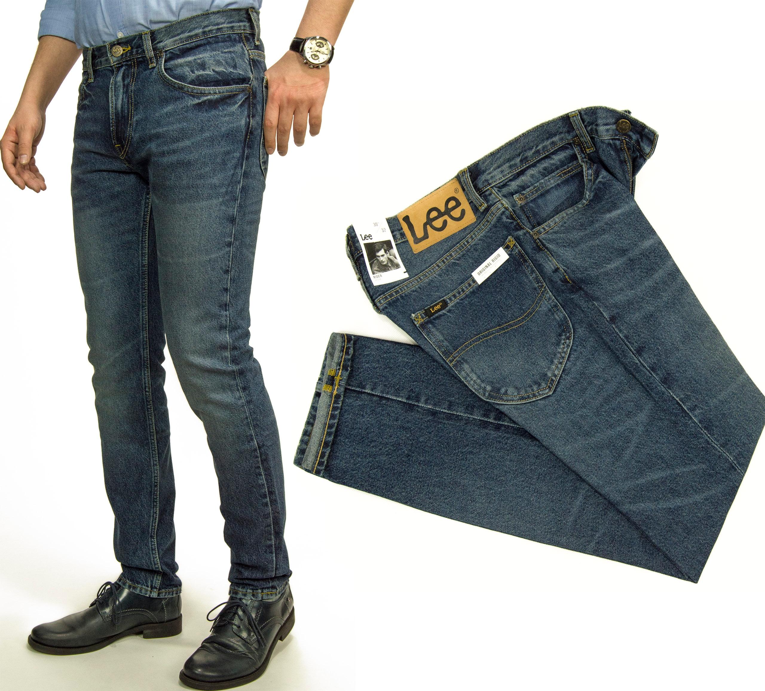 Vinobranie Opotrebované Lee Rider nohavice 100% džínsy W38 L34