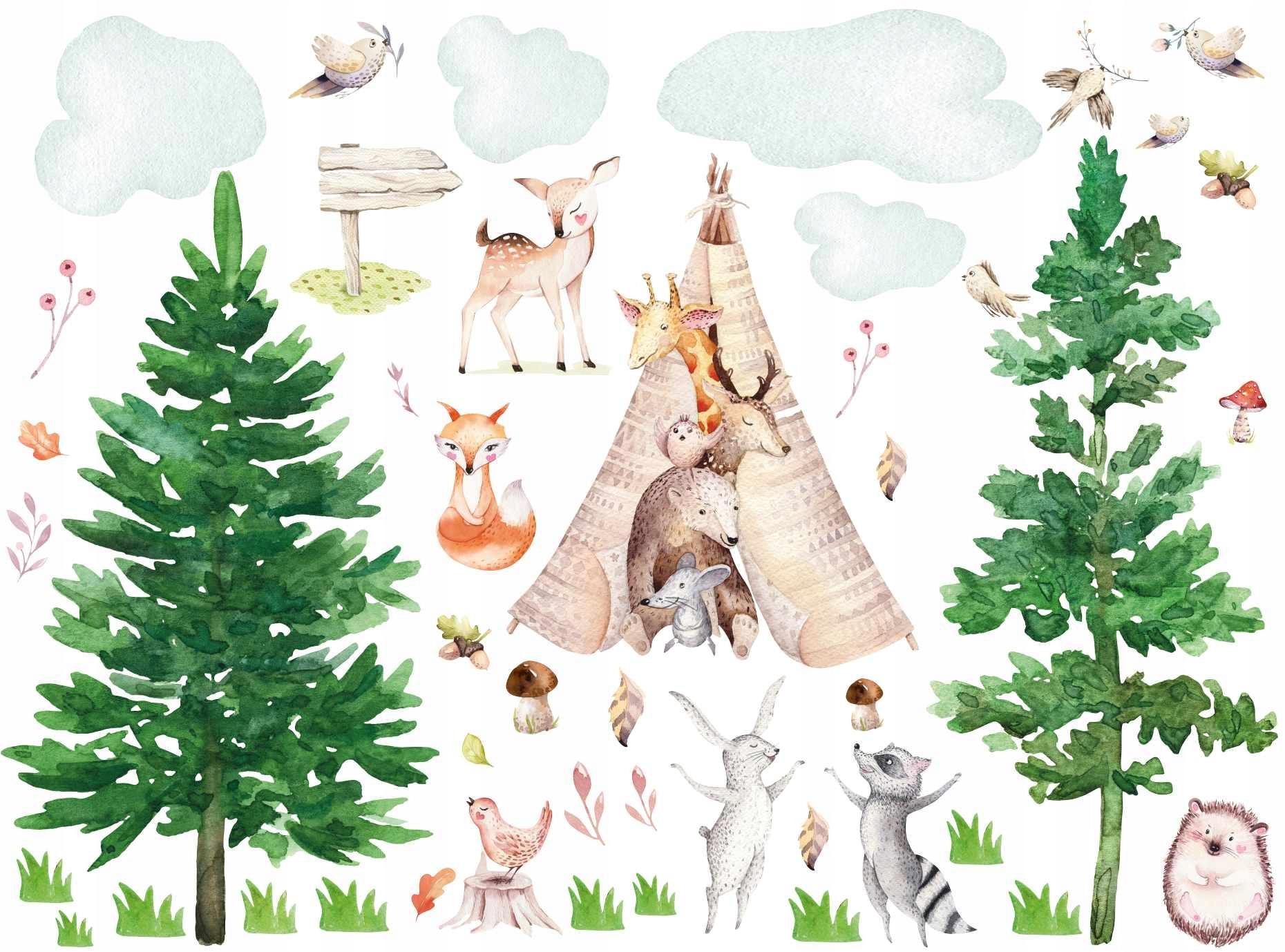 Naklejki na ścianę zwierzątka zwierzęta w lesie