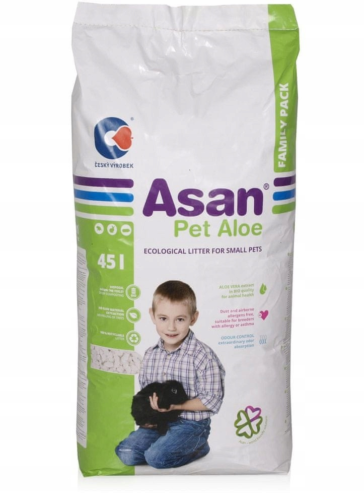Asan Pet 45L výplň pre králiky aloe niepylący