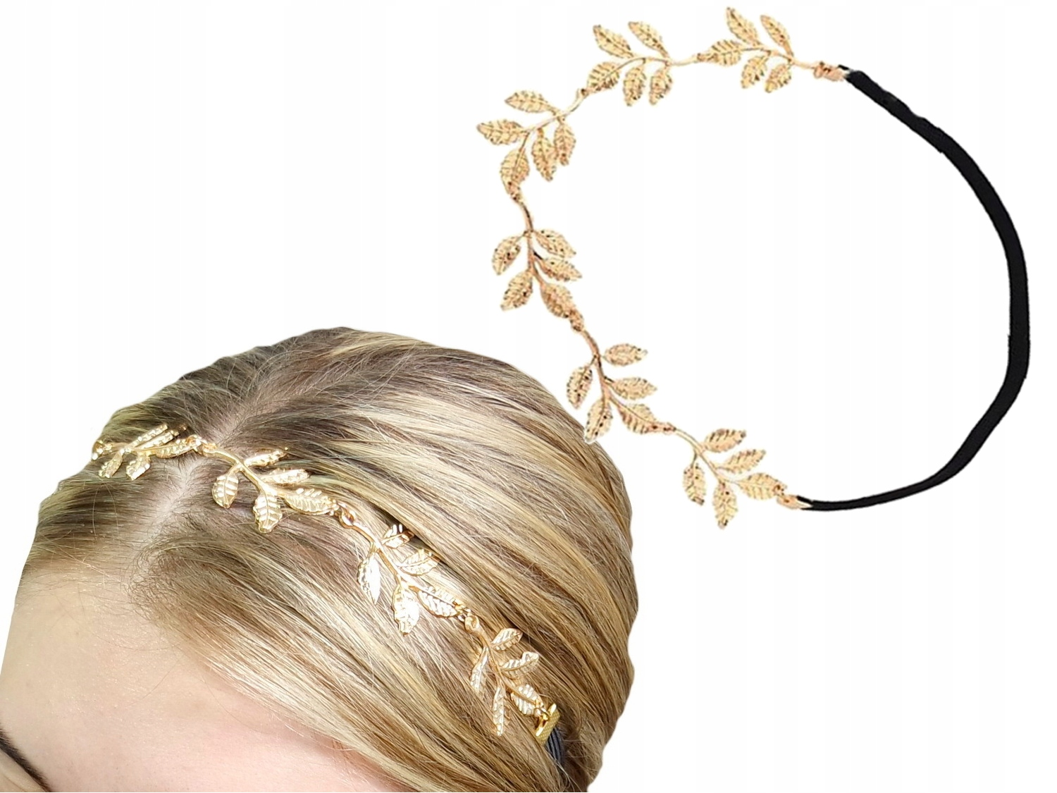 Item M73 Headband with GOLD Elastic LEAVES, a Sprig