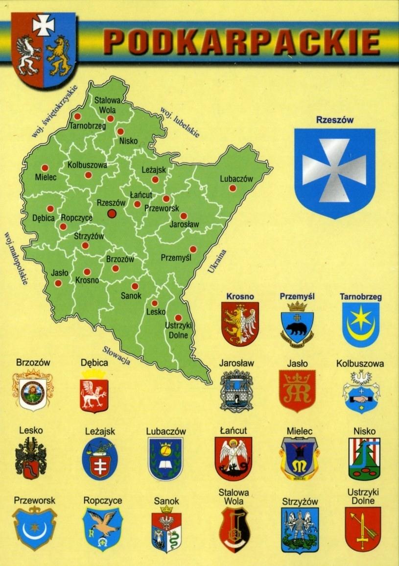 Podkarpackie provincia Mapa Herby WR806