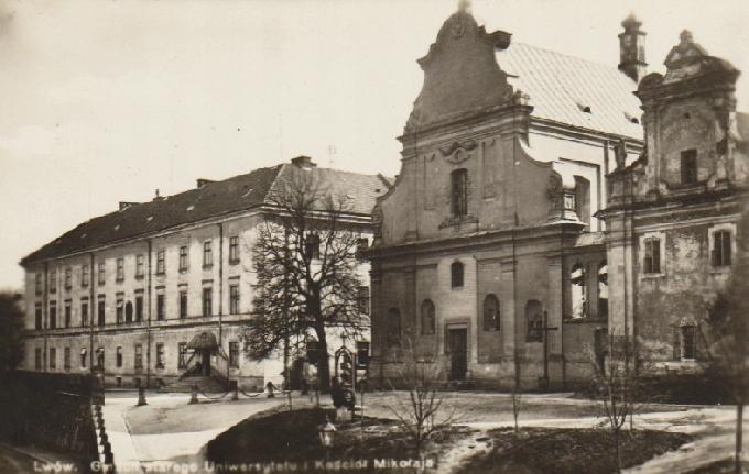 Ľvov. Univerzita a kostol Mikuláša. 193-?