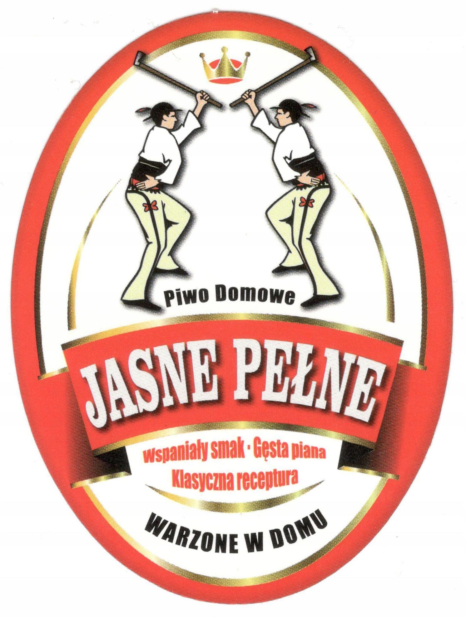 Etykiety naklejki na piwo - Jasne Pełne - 10 sztuk