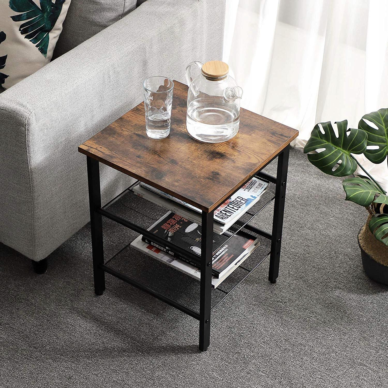 Kit 2 x nočný stolík polica retro drevo+kov