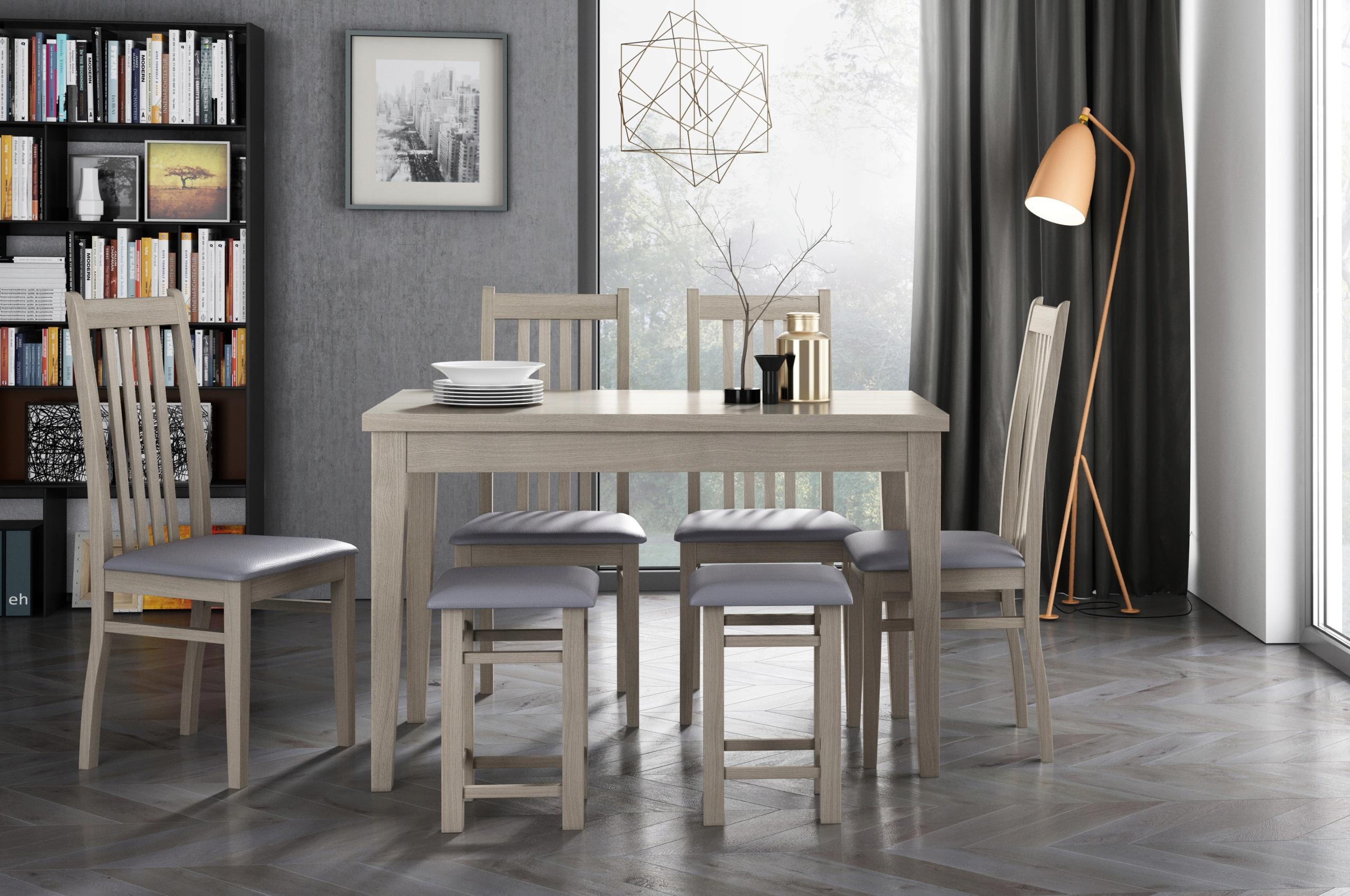Stôl 170x90 + 40 Sonoma. Biely lesklý čierny Retro
