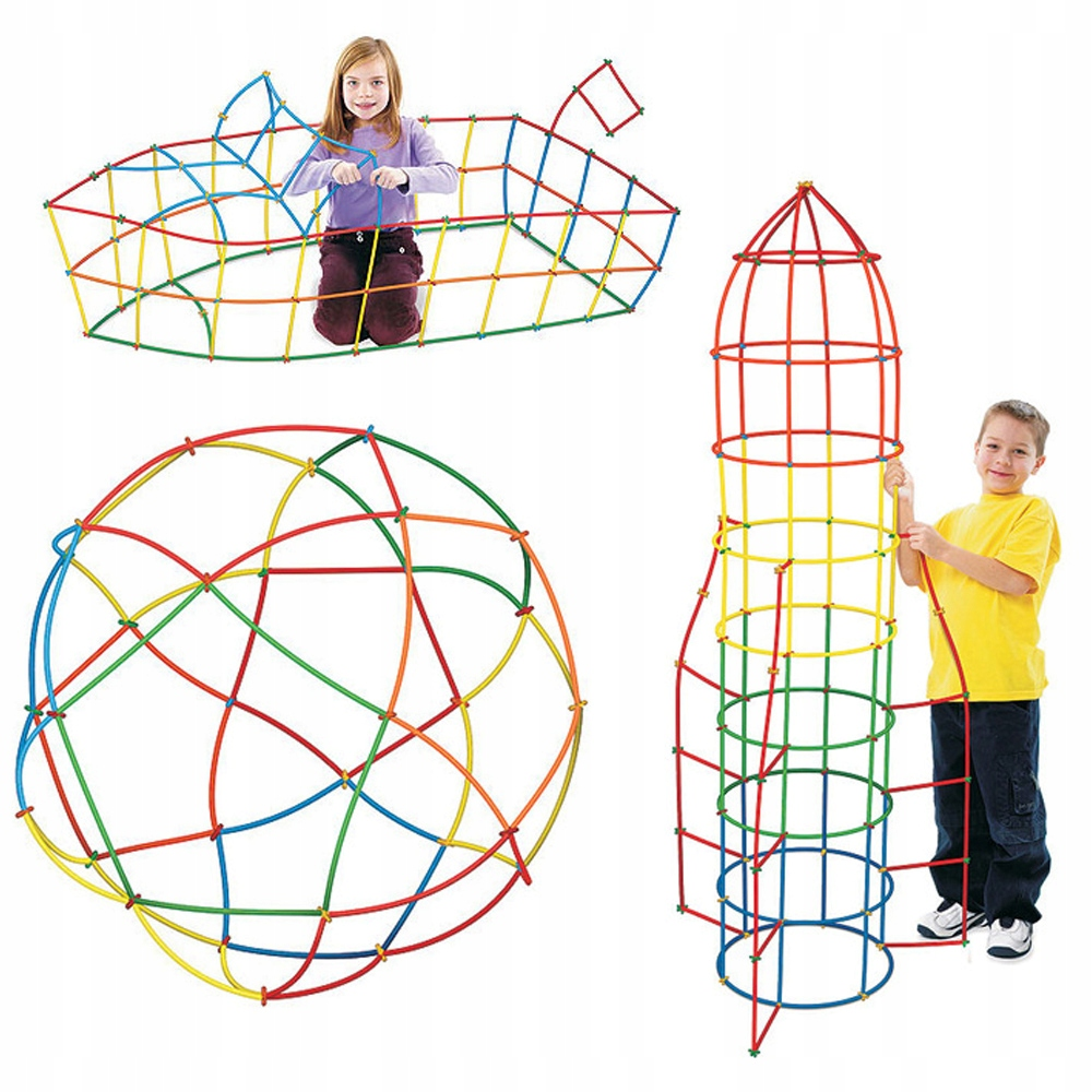 Klocki Konstrukcyjne Słomki Kuferek Zestaw 600 el Wiek dziecka 3 lata +