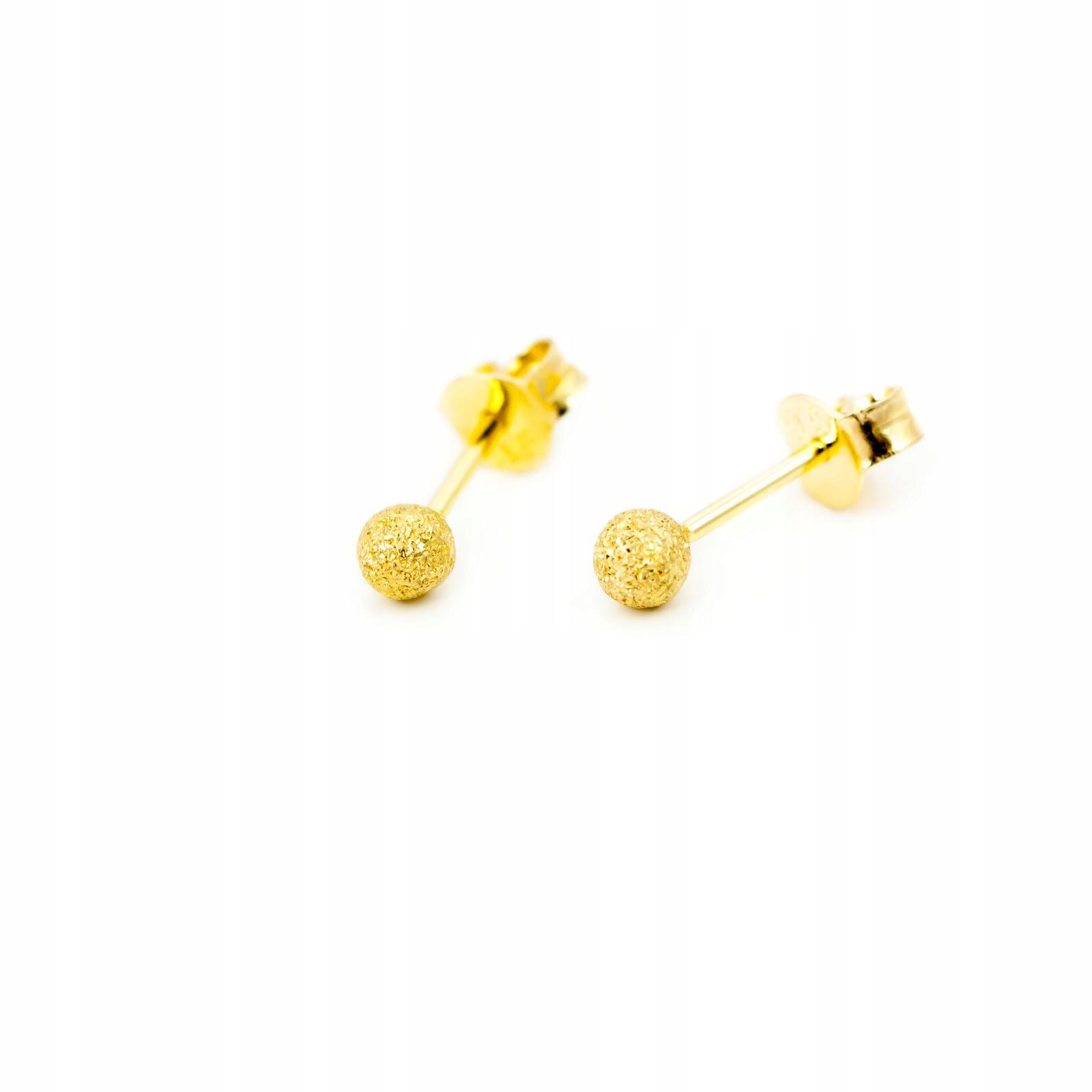 Gold 585 Náušnice Perly Młotkowane 3,5 mm id K1008