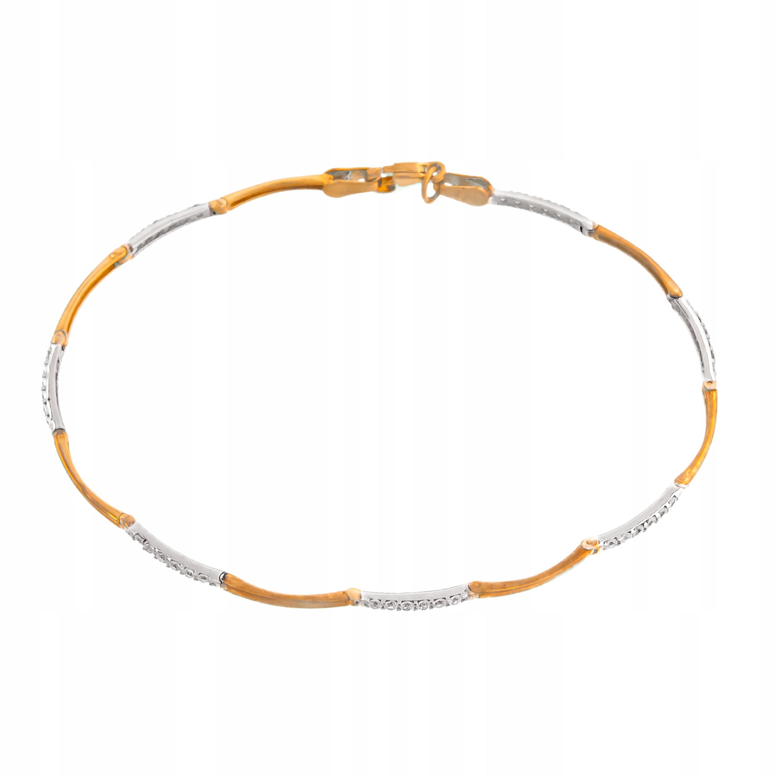 Zlatý Náramok 585 Biele Zlato Kamienkami RYTCA