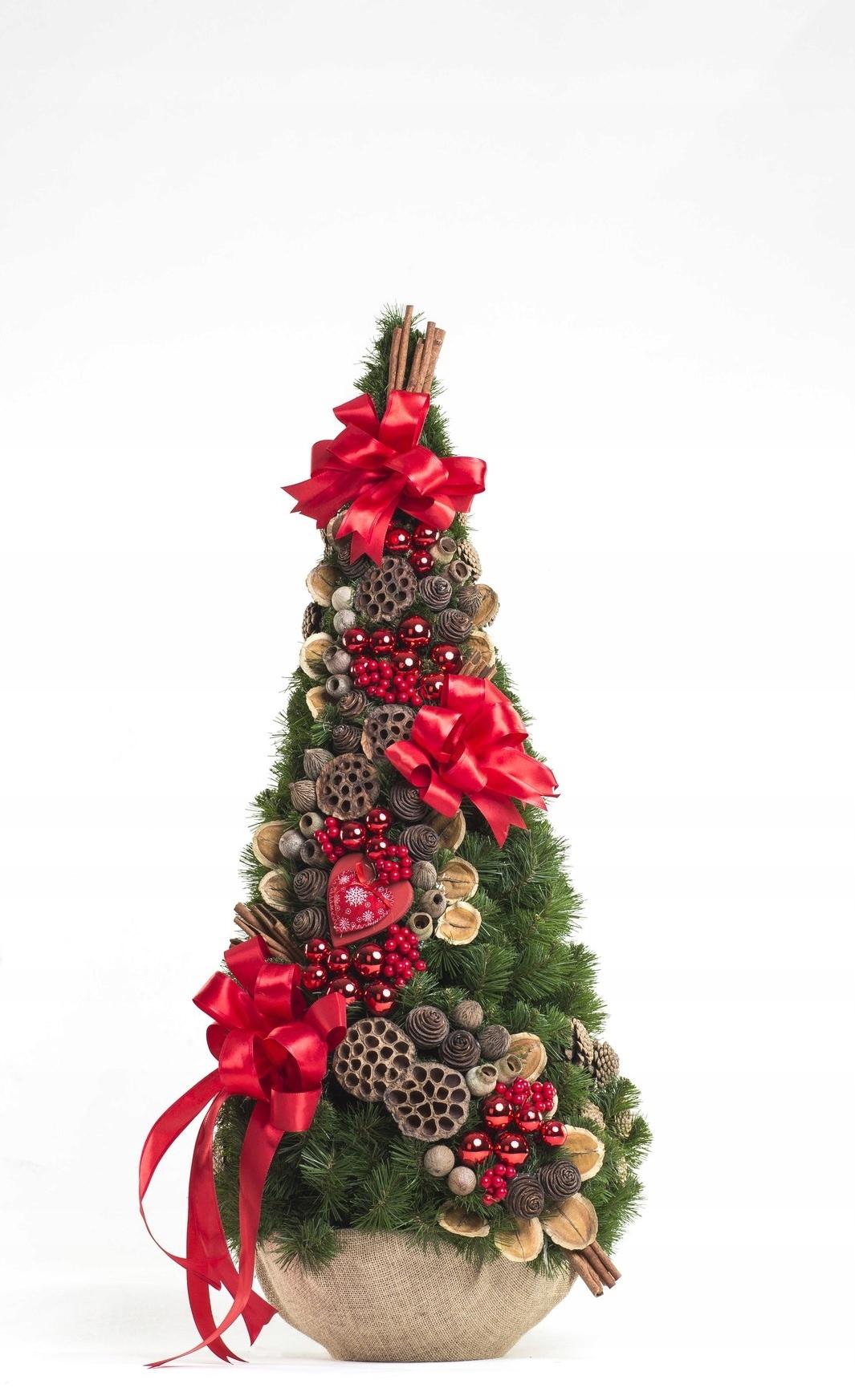 Vianočný stromček, zdobený kornútik, červený 90cm
