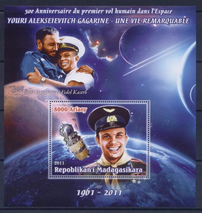 Купить J Гагарин космос Мадагаскар bl [5] Castro #MDG1105 на Otpravka - цены и фото - доставка из Польши и стран Европы в Украину.