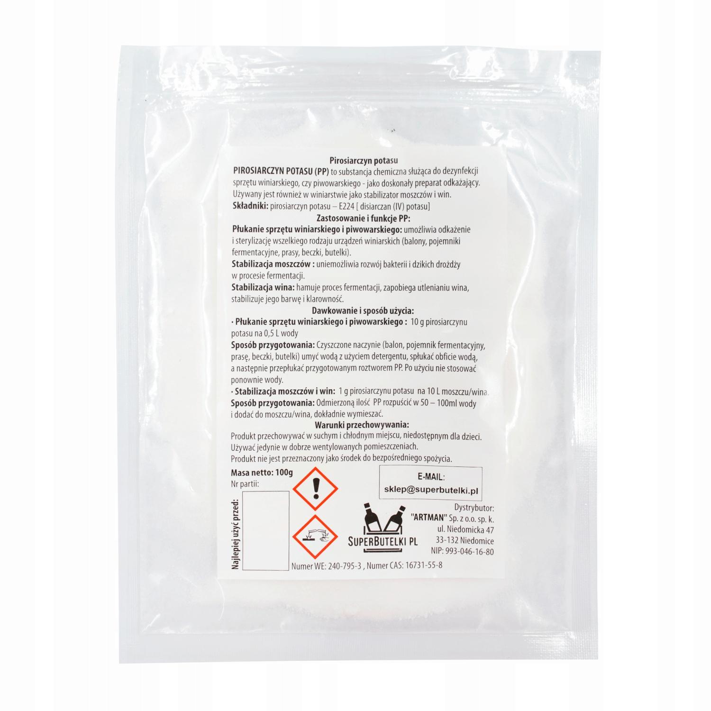 Item POTASSIUM METABISULFITE 100 g FOR CLEANING BOTTLES