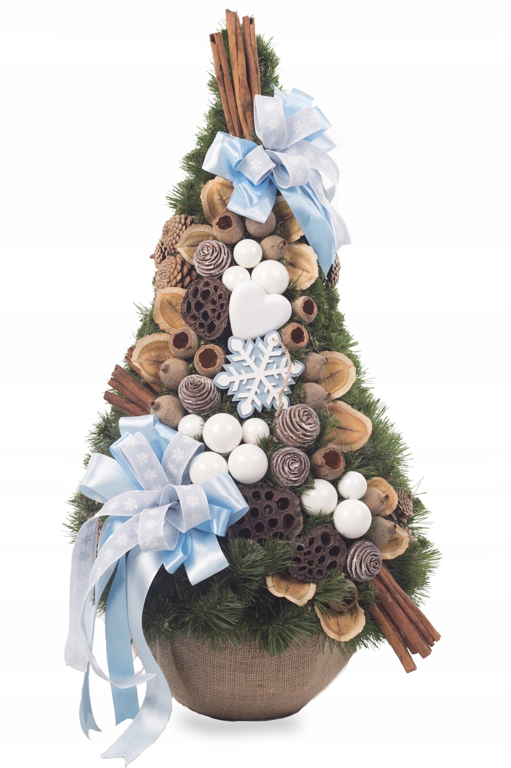 Dekoračný vianočný stromček, šiška, Modrá 75cm