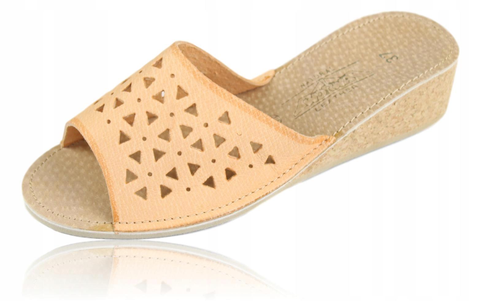 Pantofle kapcie klapki damskie skórzane 1117 38