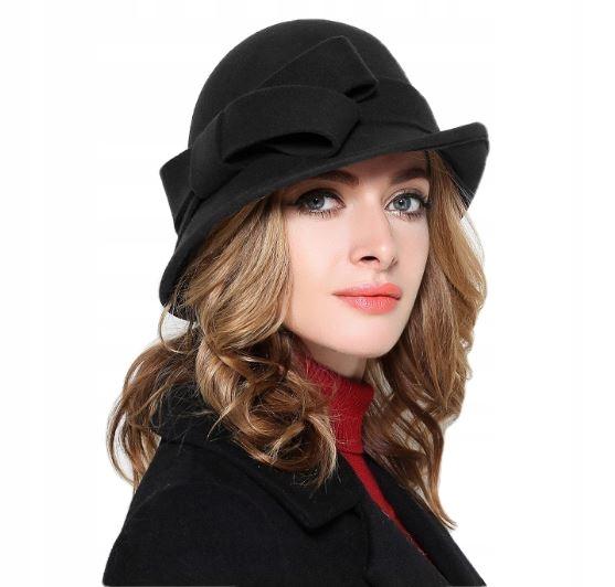 Vlna klobúk žien retro luk čierna