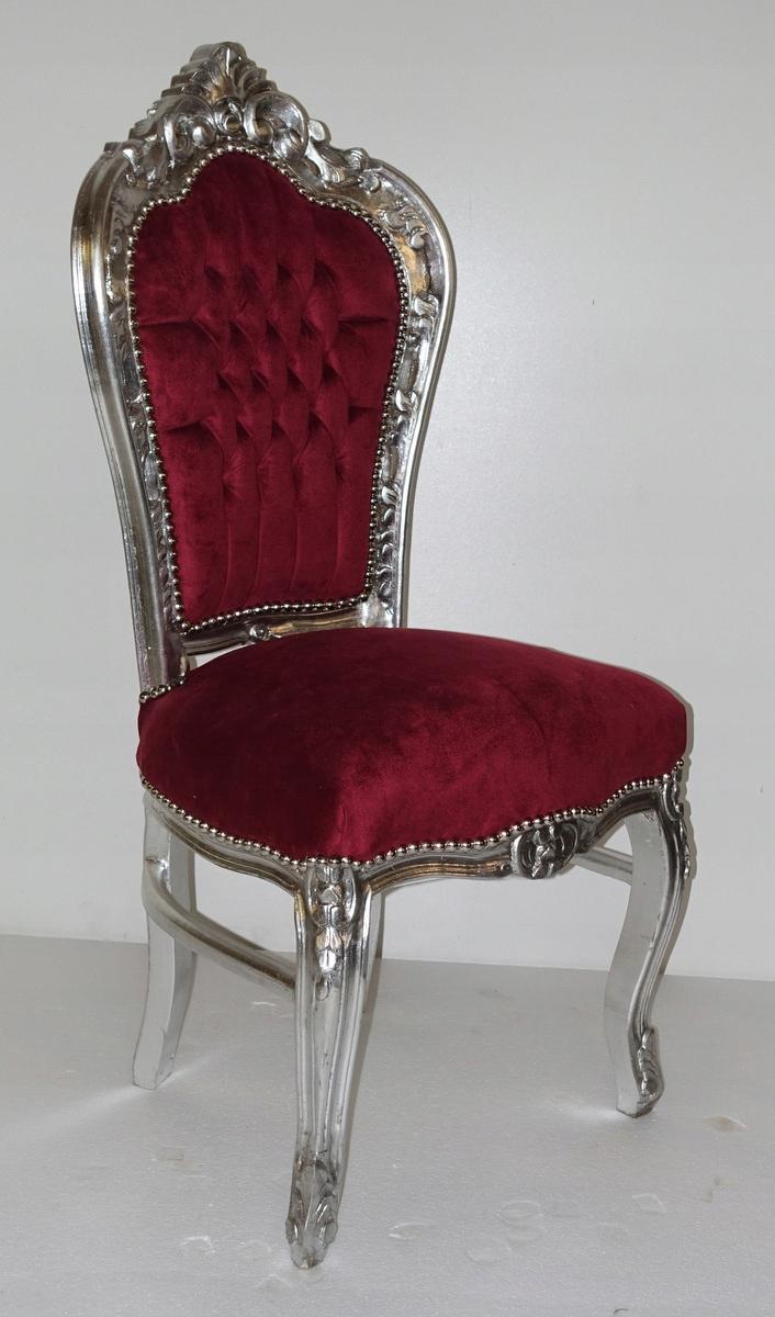 СТИЛЬНЫЙ стул в стиле БАРОККО, серебристо темно-красный ТАБУРЕТ