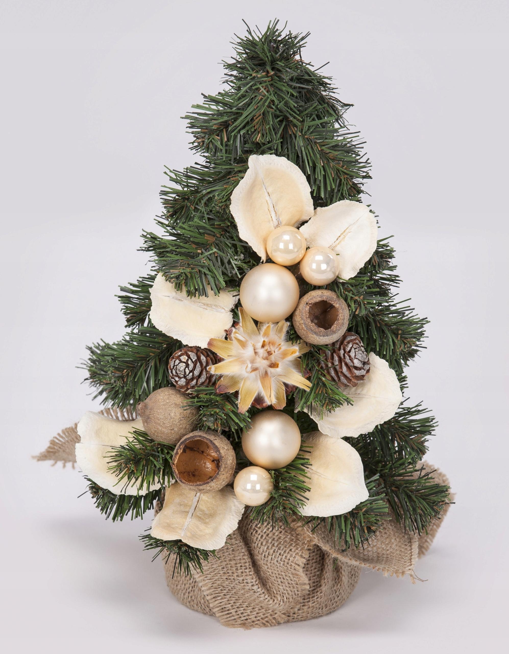 Kónický umelý vianočný stromček zdobený Ecru 30 cm