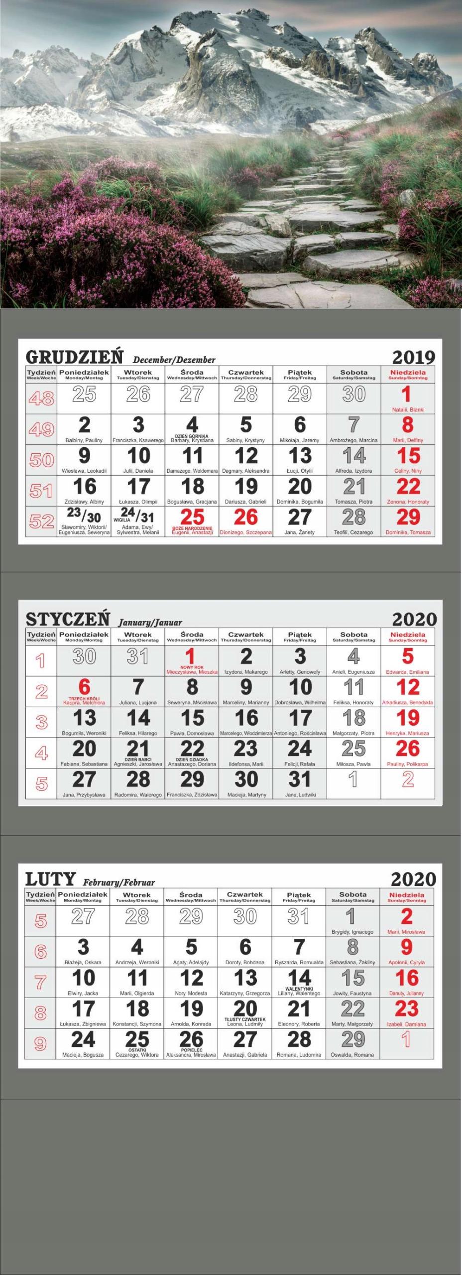 kalendarz trójdzielny 2020 duży JAKOŚĆ  56 WZORÓW