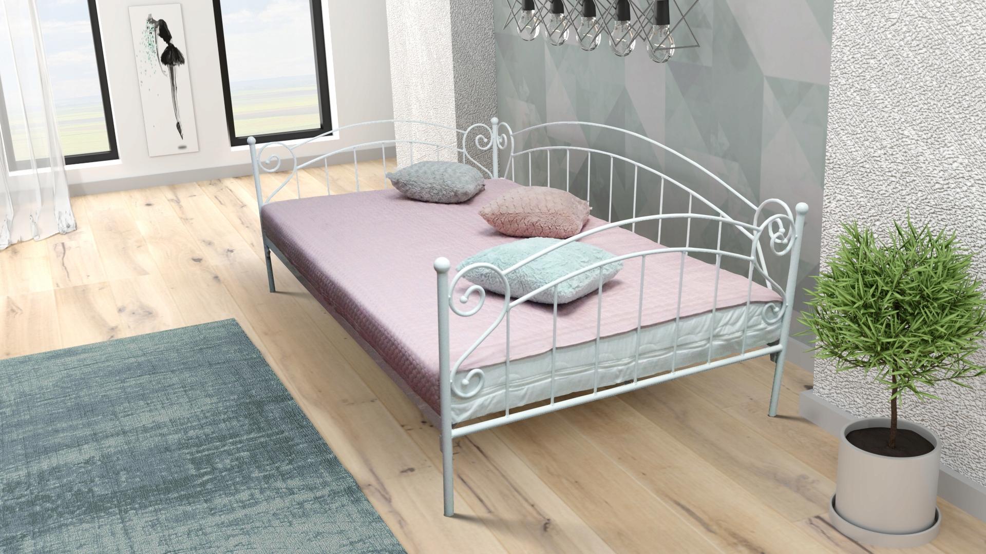 łóżko Metalowe Sofa Zofia 100x200 Kute Białe