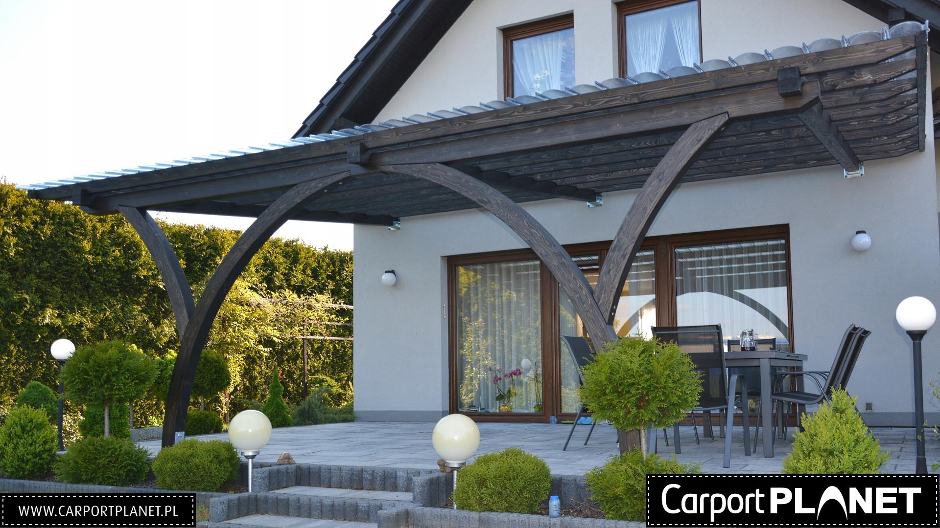 Baldachýn terasa a drevené pergoly dreva
