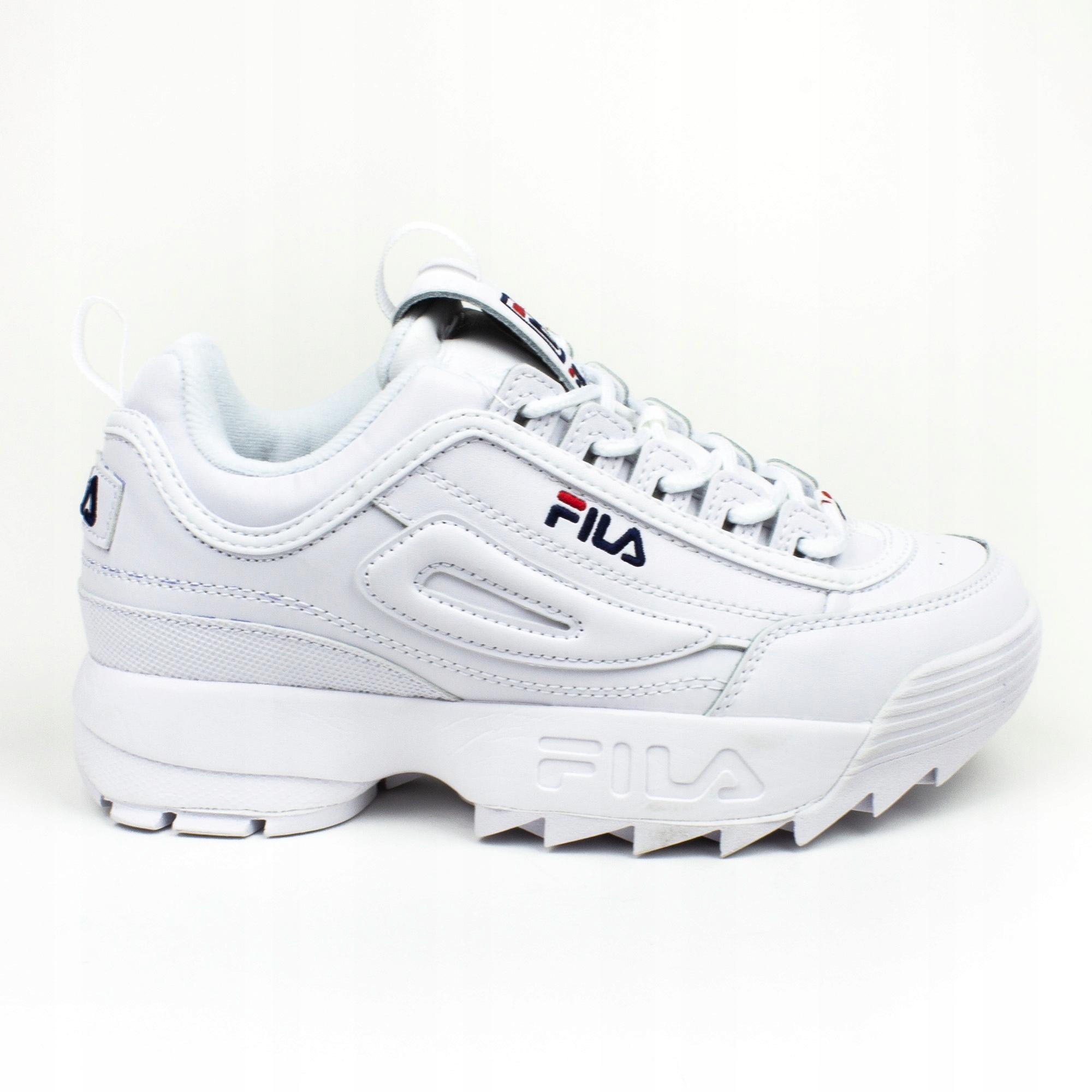 FILA Disruptor II Premium White, Red & Blue Shoes