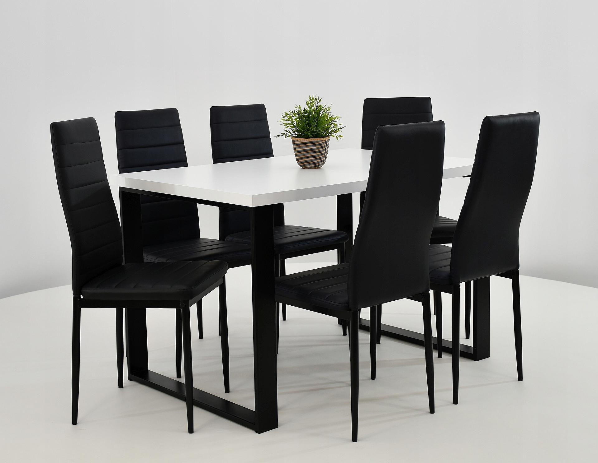 6 stoličkami pre kuchyňa + loftowy tabuľka 80x120