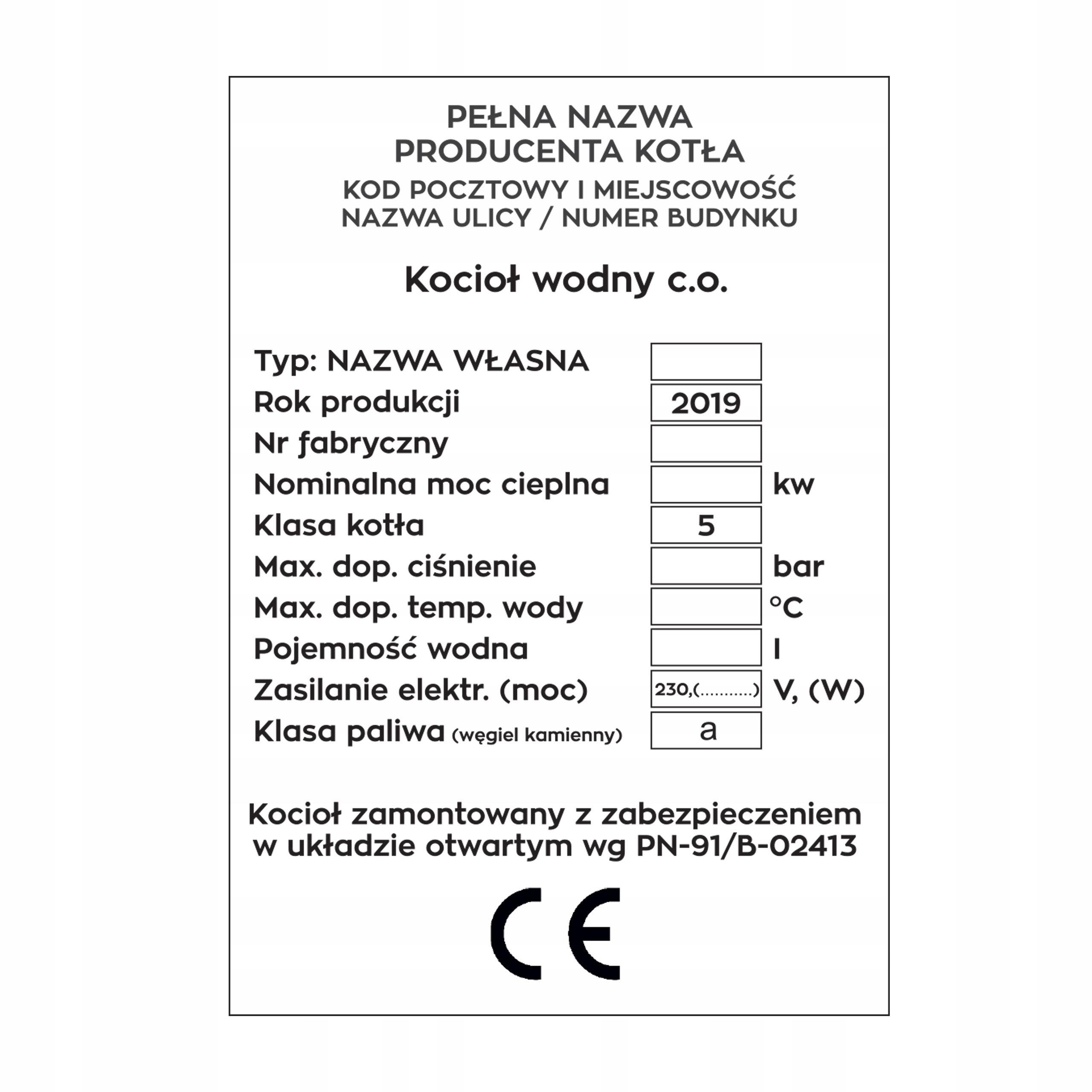 Tabliczka Opisowa Znamionowa Kocioł 5 Klasa 50 Szt