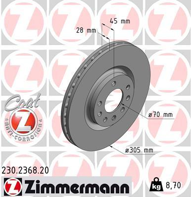 Picture of ZIMMERMANN ROTORS FRONT FIAT CROMA 305MM