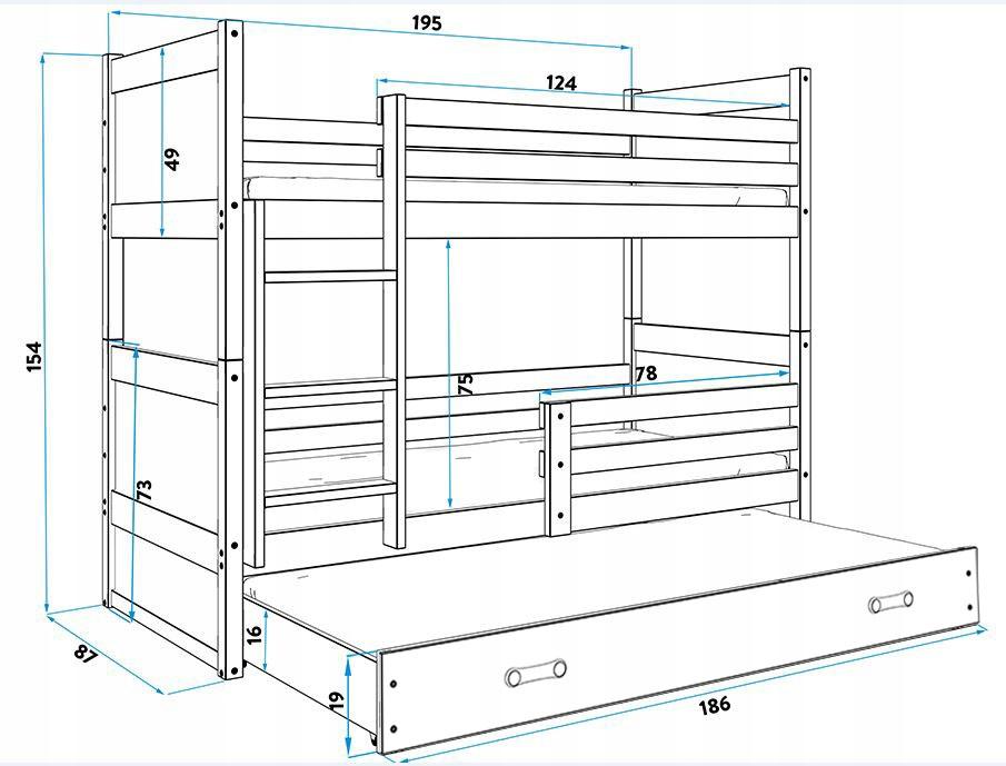 Łóżko Rico dla dzieci 190x80 piętrowe 3 osobowe EAN 5902730603191