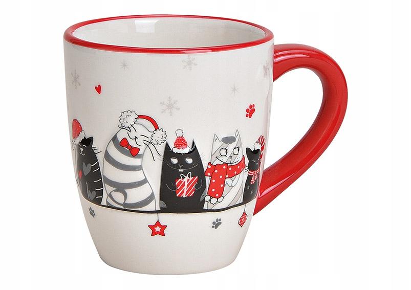 Kubek ceramiczny ze świątecznym kocim motywem