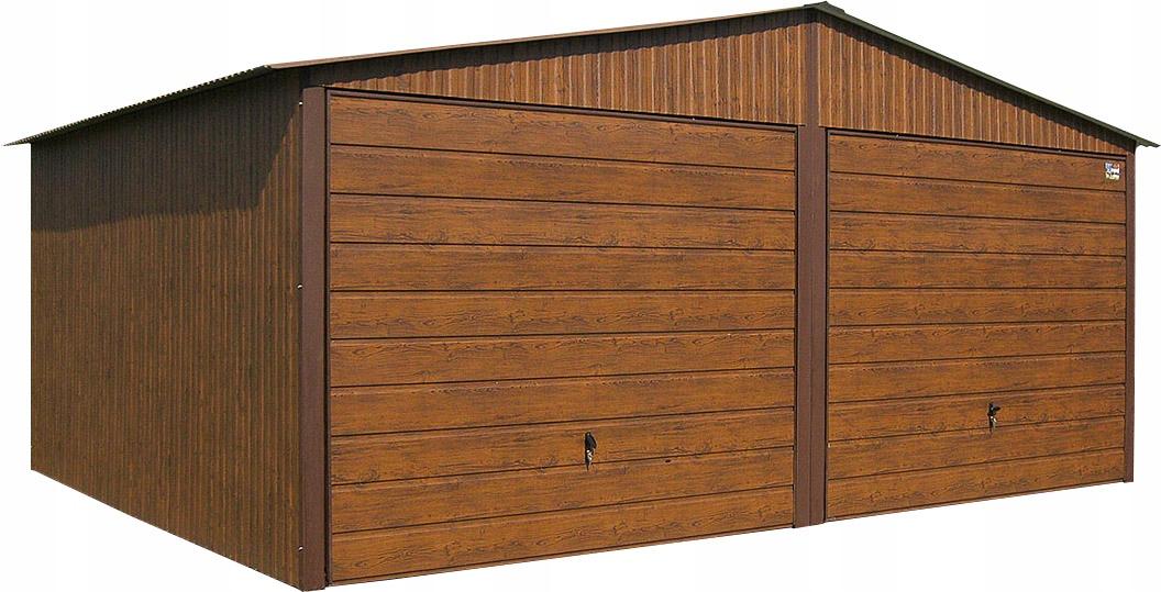 Garaże Blaszane 6x5 Blaszaki Orzech Drewnopodobne