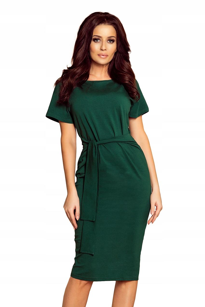 Sukienka dresowa midi Pasek Bawełna Zielona L 40