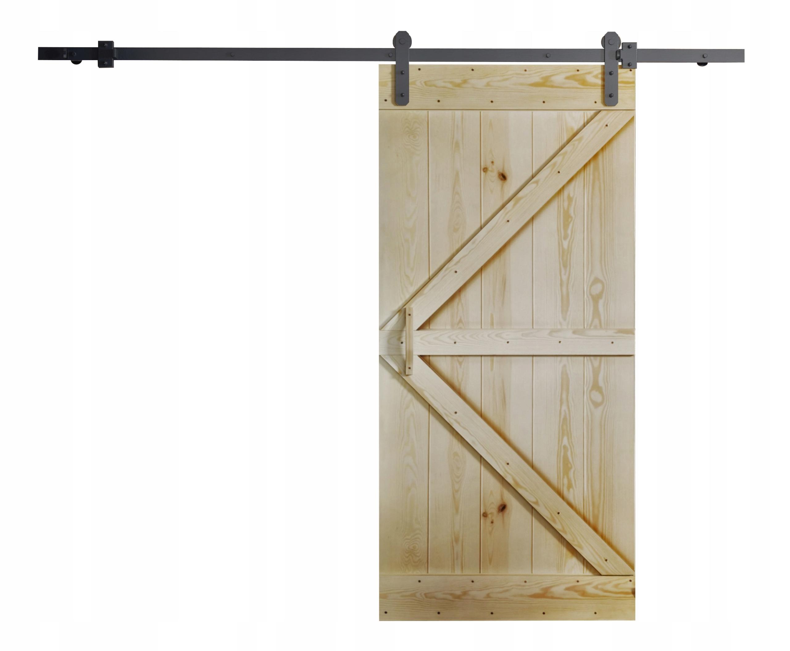 Drzwi przesuwne drewniane RUST 100 naścienne