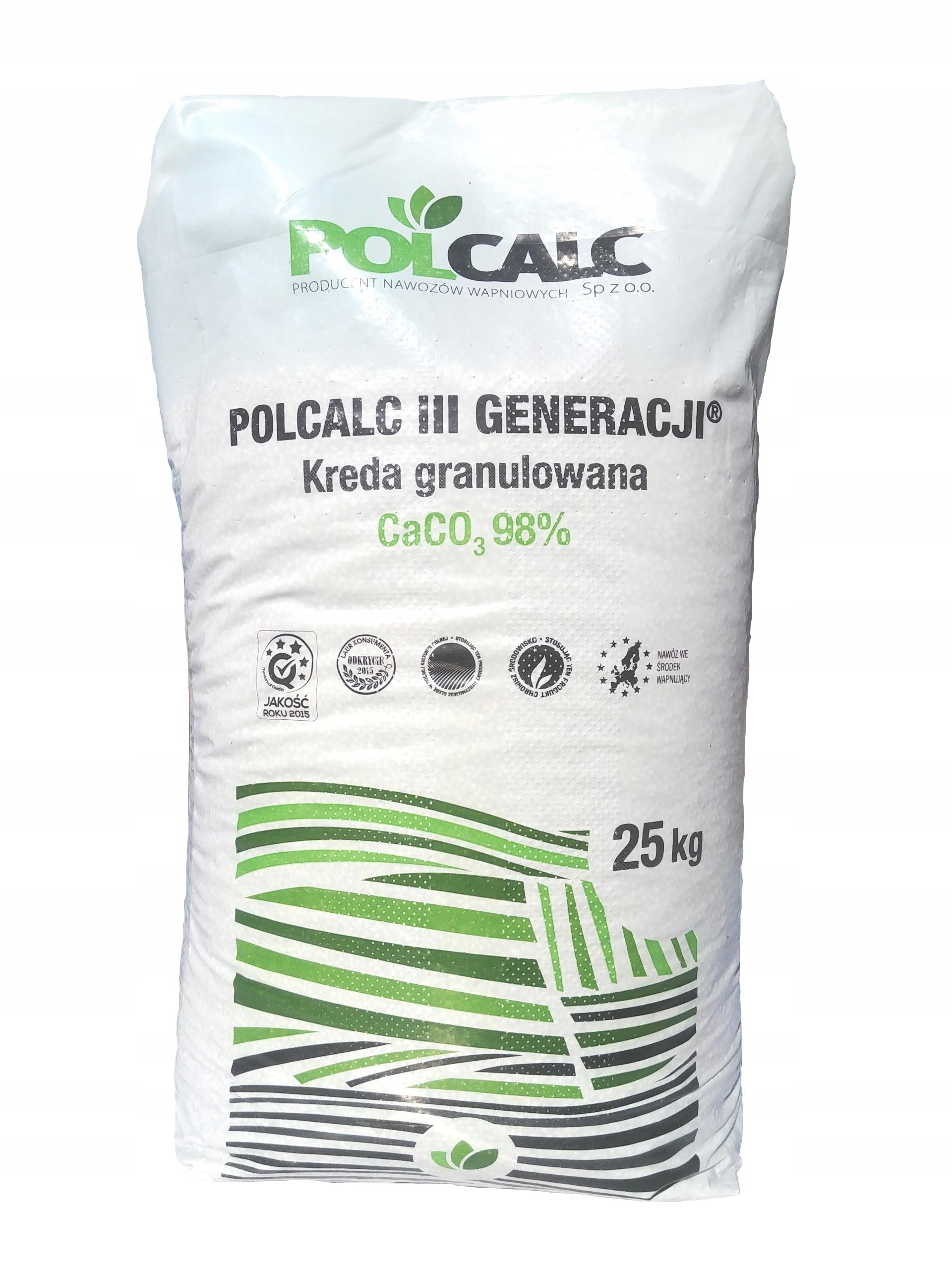 WAPNO GRANULOWANE NAWÓZ 93-98%CaCO3 POLCALC 25KG