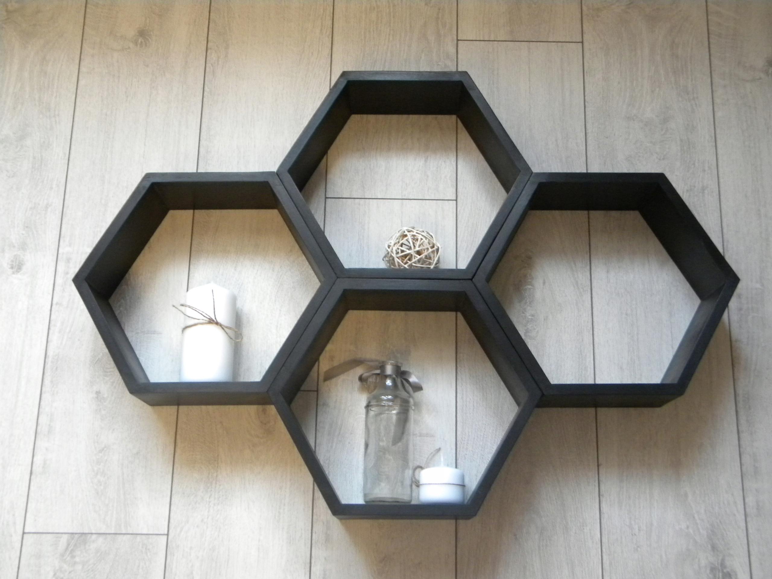 Drewniana Półka Plaster Miodu Hexagon Zestaw 4 Szt