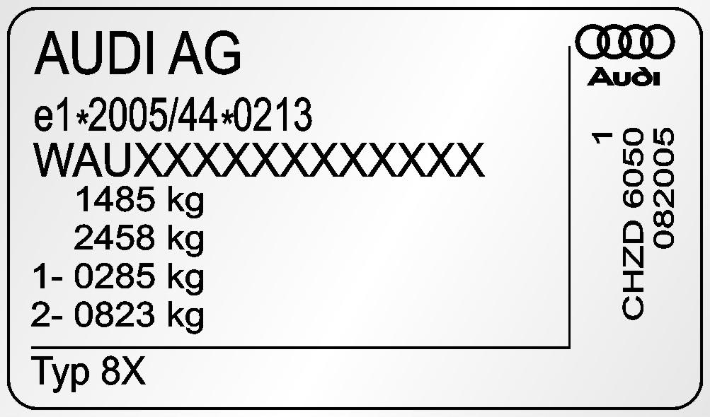Табличка заводская табличка с данными AUDI