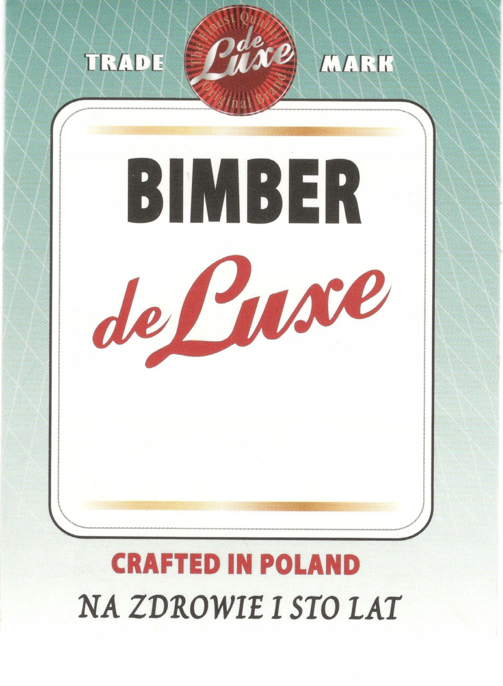 Etykiety na bimber - Bimber de luxe - 10 sztuk
