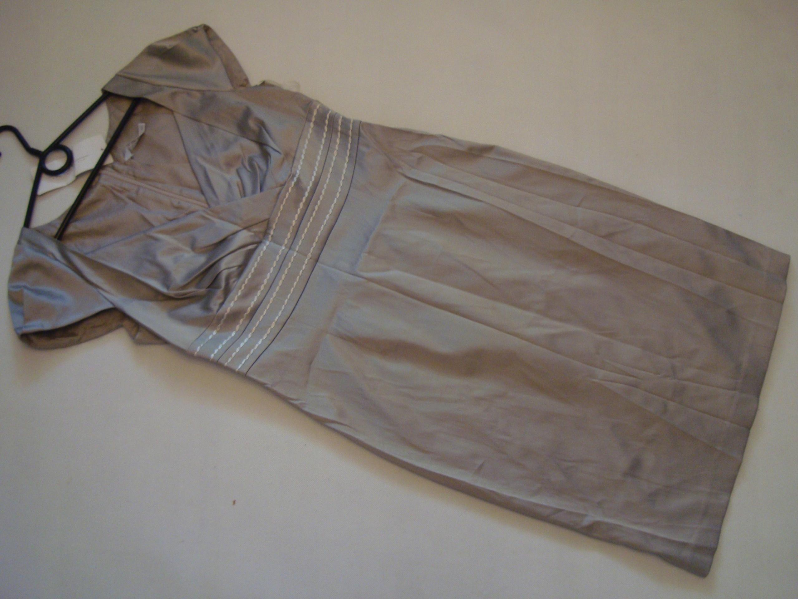 c8c9f0b3d9 EKSKLUZYWNA beżowa sukienka TARANKO r.40 7444741053 - Allegro.pl
