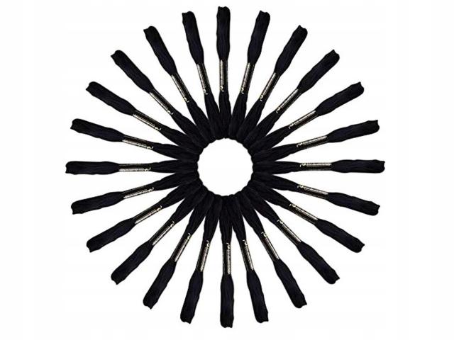 Black Mulina 50 kusov nite pre cradons výšivky