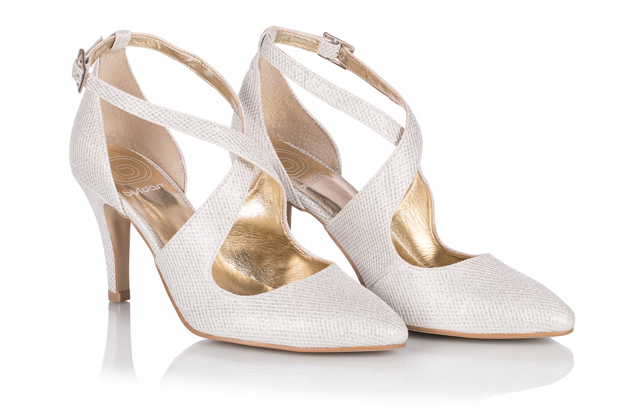 Buty ślubne szpilki taneczne srebrne z paskami 36