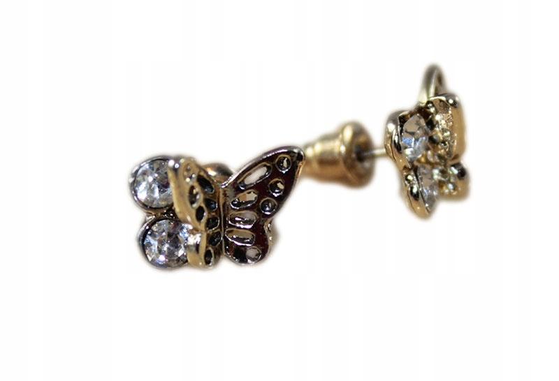 -margut- Kolczyki wkręty złote motyl motylki
